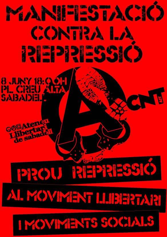 Sabadell. Dissabte 8 de juny. Manifestació contra la repressió. a Sabadell
